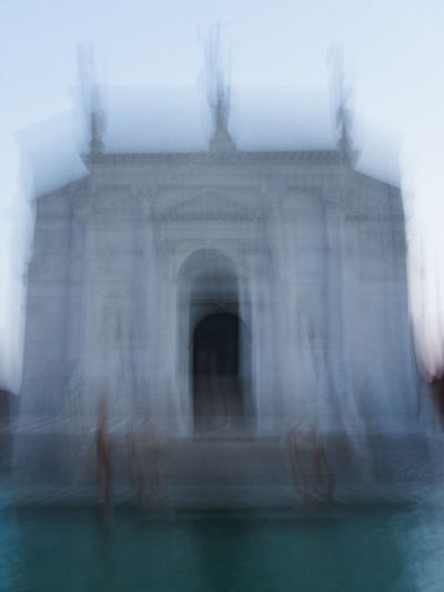 Blurred motion of a building