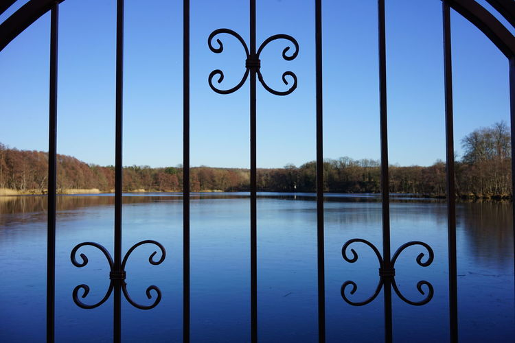 Water No People Blue Nature Day Number Text Metal Lake Sky Scenics - Nature Outdoors Sign Architecture Communication Safety Tranquil Scene Tranquility Iron - Metal Wrought Iron