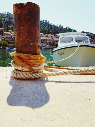 Harbor Sunlight Water Nautical Vessel Boatlife Blue Sea Rope Boat Boat Tour Happyness Buoy Wooden Pier Travel Destinations Scaffolding Old Wood Health Spa Vacations Kroatia Summer Love