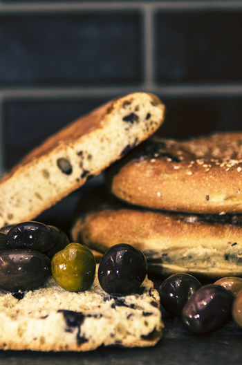 Close-up of freshly baked bread with berries