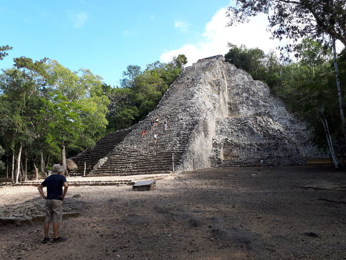 templo mayor cobá Mayan Ruins Travel Destinations Vacations Pirámide Cobá Sky