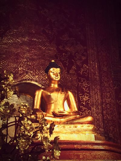 Religion Statue Spirituality Male Likeness Human Representation Idol Place Of Worship Sculpture No People Gold Colored Chiangmai Thailand Buddhism Buddhist Temple Spirituality Unique Temple Chiang Mai Travel Destinations Indoors  Day