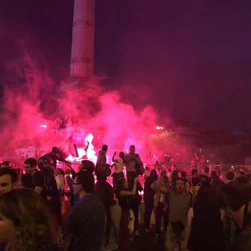 Party for final of world cup of French team at Bastille Smoke Bomb Lighting Equipment Party Football Soccer Football Fan Football Worldcup World Cup 2018 French Team Enjoyment Crowd Group Of People Large Group Of People Event Enjoyment Night Celebration Illuminated Real People Togetherness Nightlife Fun Adult