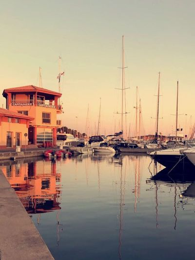 Reflection Nautical Vessel Water Moored No People Harbor Transportation Outdoors Sea Sailboat Sky Tranquility Built Structure Architecture Mast Building Exterior Nature Yacht Day Clear Sky Your Ticket To Europe South Of France Saint Raphael French Riviera