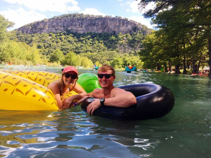 Vacation Vacations Vacation Time Leisure Activity Water Lifestyles Vacations Mountain Togetherness Fun Enjoyment Tourist Weekend Activities Summer Summertime Summer Views River Guadalupe Guadalupe River Garner GarnerStatePark Couple Love Swimming Float