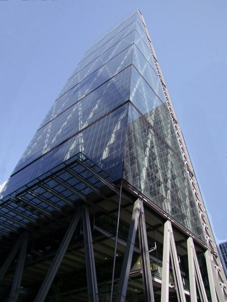 """Modern Building known as the """"Cheesegrater"""", City of London Composition Creativity GB London Architecture Blue Sky Building Building Exterior Built Structure Capital City Cheesegrater Building Full Frame Glass - Material Low Angle View Modern Modern Building No People Office Office Building Exterior Outdoor Photography Skyscraper Sunlight And Shadow Tall - High Tower Uk"""