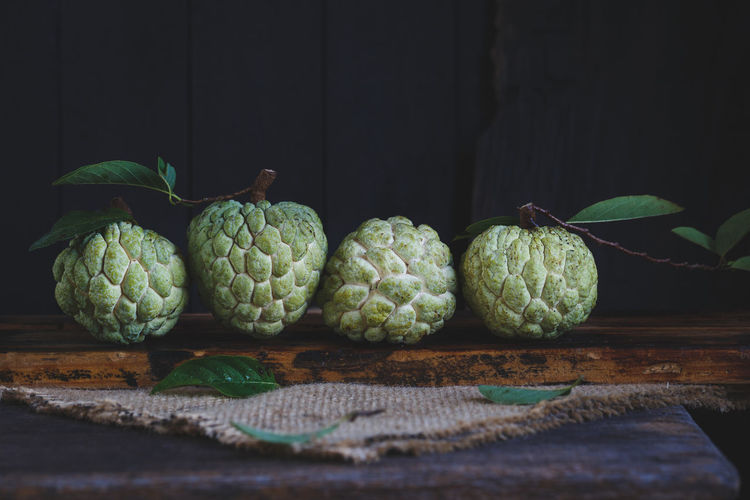 Custard Apples On Wooden Table
