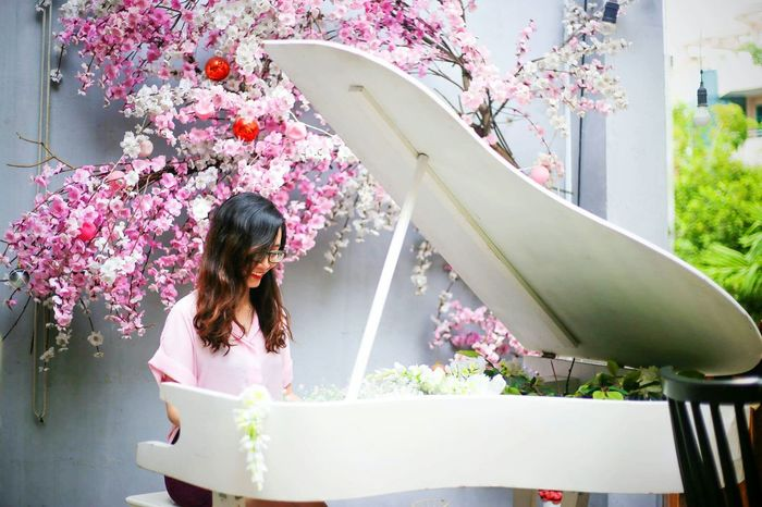 My Year My View One Person Washing Long Hair One Woman Only Adults Only Only Women Adult People Flower Day Young Adult Beautiful Woman One Young Woman Only Young Women Outdoors Hygiene Piano Blossom Pink Color Pink Flower Red Hair Hightlight Backgrounds Indoors