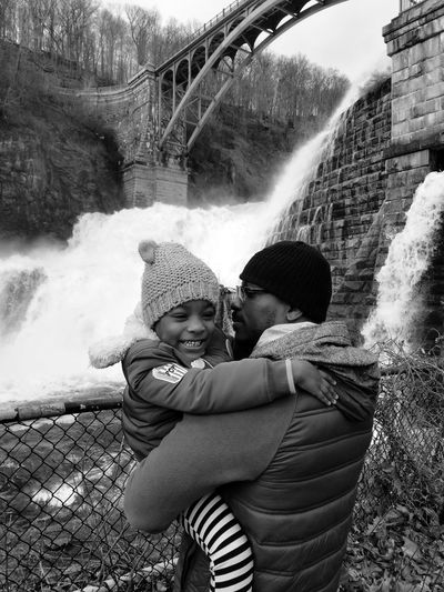 Excitment Fatherhood Moments Waterfall Excitement Happy Fun Water Child Bonding Childhood Togetherness Females Males  Happiness Smiling Motion Family Bonds Hugging Hiker Flowing Water Flowing Falling Water This Is Masculinity Power In Nature Arch Bridge Bridge - Man Made Structure This Is Family The Portraitist - 2018 EyeEm Awards The Great Outdoors - 2018 EyeEm Awards Moms & Dads