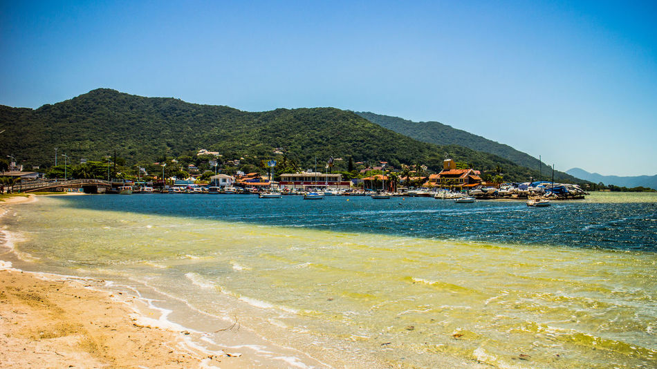 Lagoa Da Conceição Architecture Beach Beauty In Nature Blue Building Exterior Built Structure Clear Sky Day Florianópolis Brasil Landscape Mountain Nature No People Outdoors Palm Tree Scenics Sea Sky Tranquil Scene Tranquility Travel Destinations Tree Vacations Water