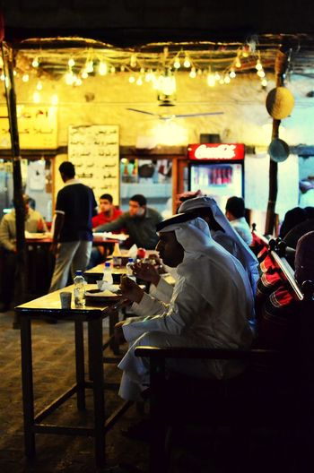 Night In Qatar Souq Wagif In Qatar Table Restaurant Real People Women Men Food People Adults Only Adult Outdoors Day