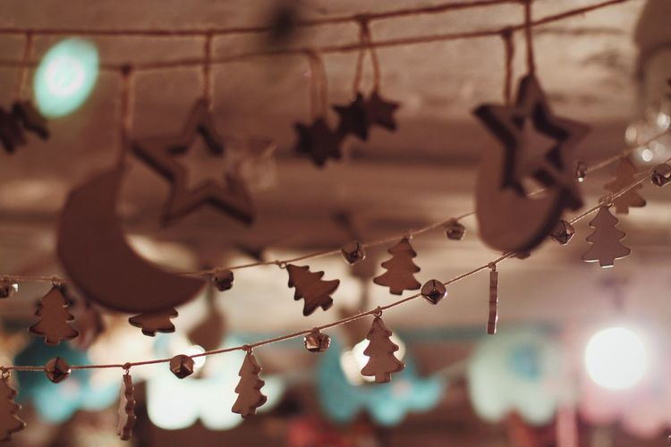 Low angle view of decoration hanging