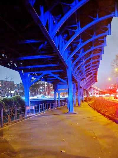 Capture Tomorrow City Cityscape Neon Illuminated Urban Skyline Futuristic Bridge - Man Made Structure Blue Road Architecture