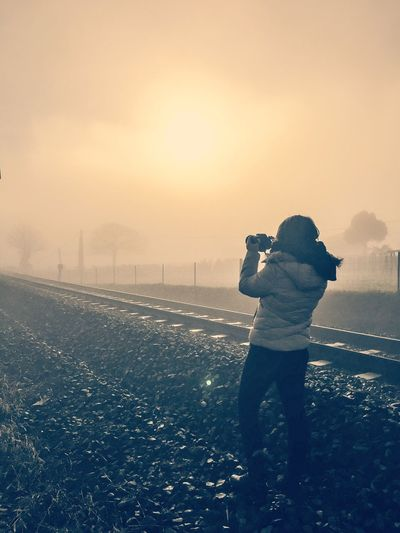 Me Selfie ✌ Santiago De Compostela SPAIN Galicia Sun Train Railway Fog Photography Themes Sunset Photographing Technology Camera - Photographic Equipment Leisure Activity Photographer Real People Standing Wireless Technology Nature One Person Lifestyles Sky Outdoors Selfie Full Length