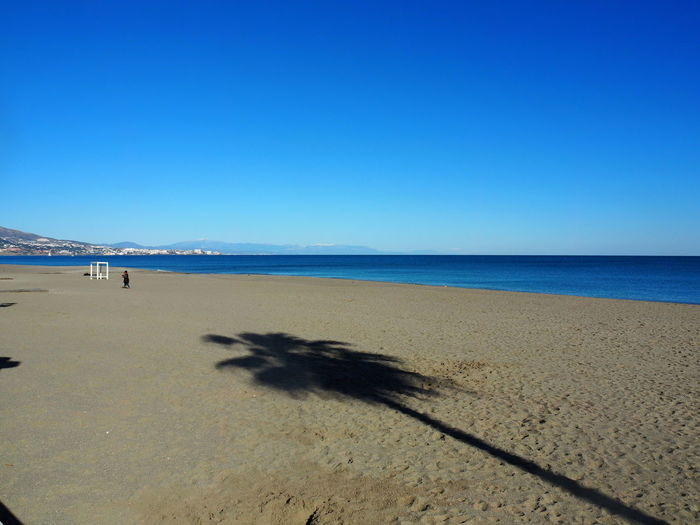 Sea Land Beach Sky Water Sand Horizon Over Water Horizon Scenics - Nature Clear Sky Nature Blue Beauty In Nature Day Shadow Trip Holiday Tranquil Scene Outdoors Palm Tree Fuengirola Spain Andalusien