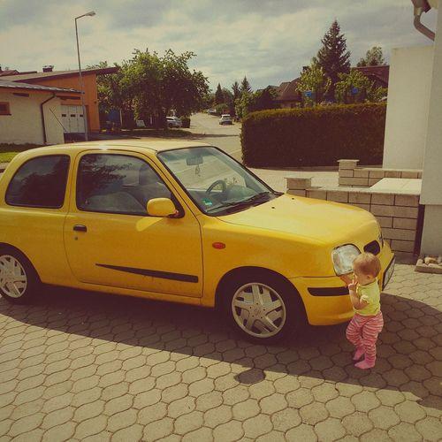 Girl Daughter Nissan Nissan Micra Yellow Yellow Car GERMANY🇩🇪DEUTSCHERLAND@ Germany🇩🇪 GermanGirl Love Cars Love Daughter Taking Photos
