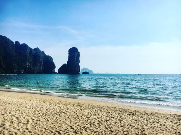 Saturday Views Beach Sea Tranquil Scene Beauty In Nature Tranquility Nature Scenics Shore Idyllic Sand Seascape Rock - Object Horizon Over Water Sky Coastline No People (null)Ao Nang, Krabi. Landscape_Collection Travel Photography Thailand Travel EyeEm Best Shots SeeTheWorldThroughMyEyes