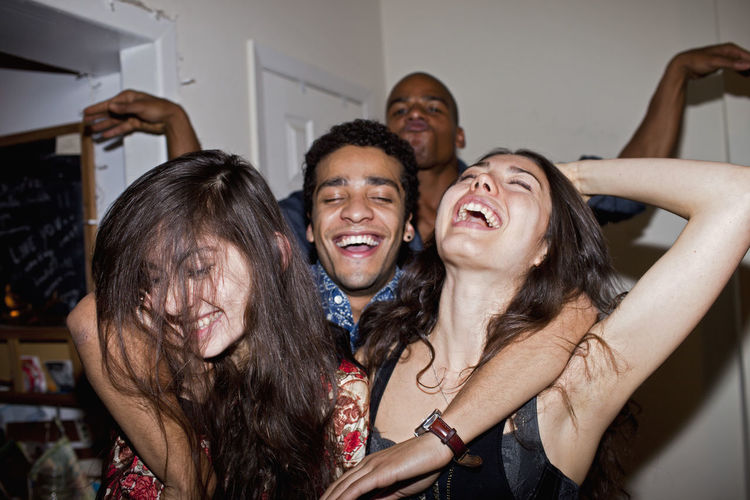 Happy friends at a party
