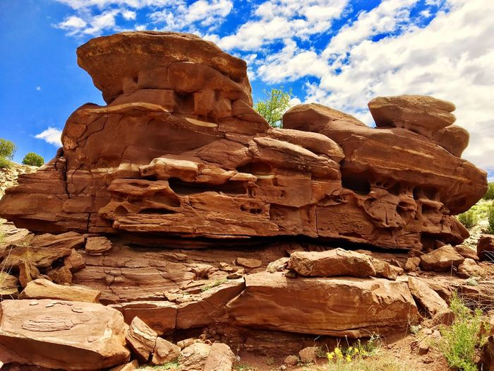 Rock Formation Geology Rock - Object Physical Geography Nature Tranquil Scene Beauty In Nature Tranquility Brown No People Sky Day Rock Hoodoo Cloud - Sky Low Angle View Sunlight Outdoors Arid Climate Scenics Landscape