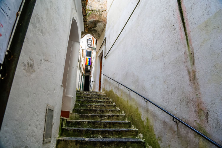 Mediterranean  Old Town Peace Peace ✌ The Only Way Is Up Architecture Building Exterior Eurotrip Old Buildings Outdoors Pace Railing Small Street Staircase Stairs Steps Steps And Staircases Street Streetphotography The Only Way Out Is Through The Way Forward The Way Up White Wall