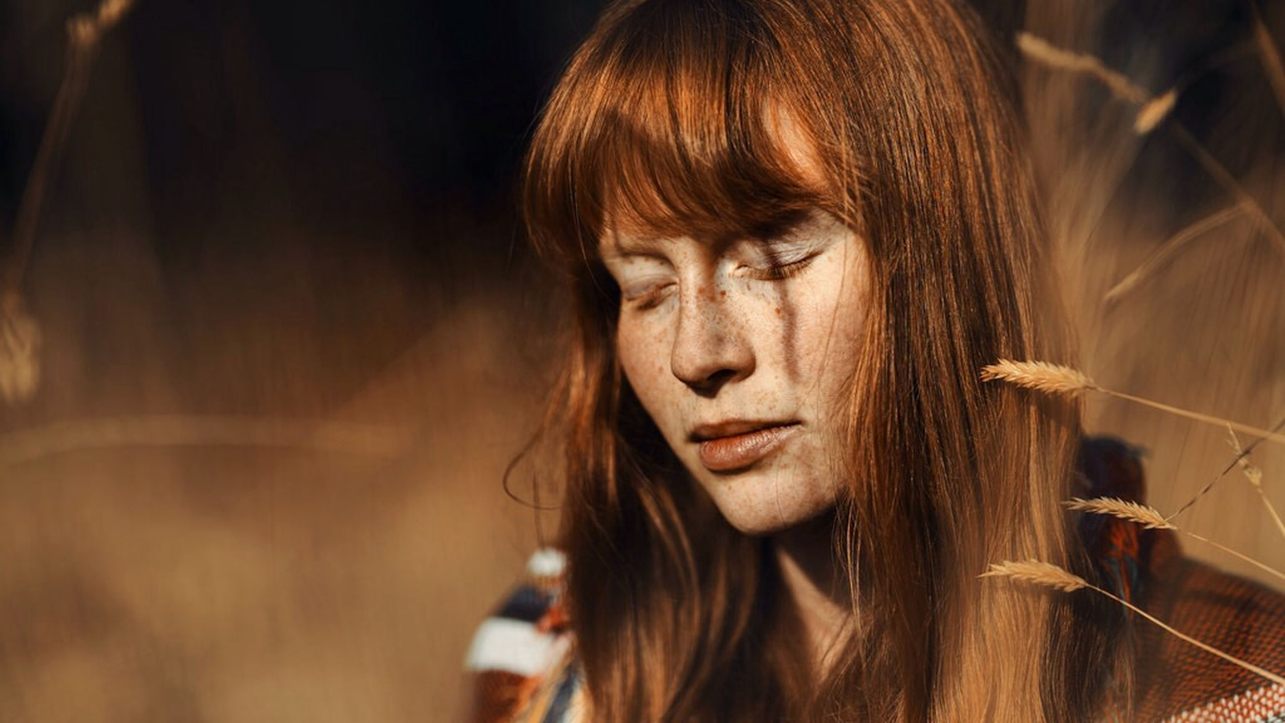 young adult, long hair, headshot, person, young women, lifestyles, leisure activity, focus on foreground, human hair, close-up, front view, contemplation, brown hair, portrait, looking away, human face