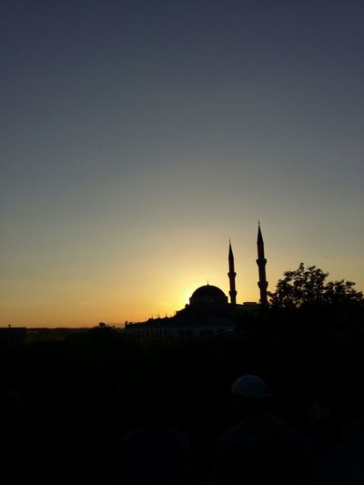 Silhouette Mosque Against Clear Sky