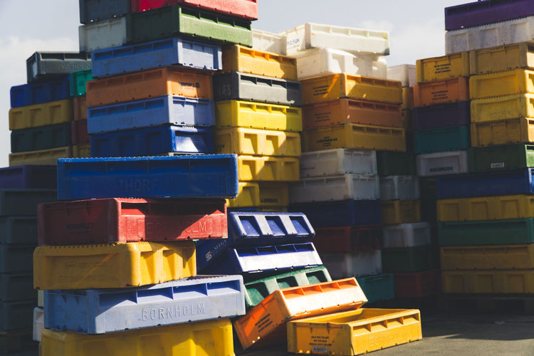 box Stack Multi Colored No People Container Box Day Box - Container Variation Fishing Fishing Industry Port Colorful Colors
