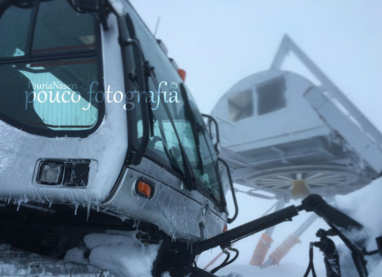 Tochal Ski Foggy Weather Snow ❄ Snowing Heavy Machinery PouriaNaseri© please follow my instagram page:poucofotografia