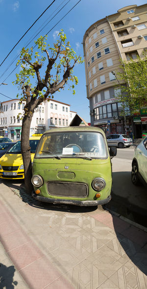 Blue Car City Color Photography Colorful Colors Day No People Old Van Old Vans Old-fashioned Outdoors Retro Retro Car Retro Style Retro Styled Retrocar Street Sunlight The Past Transportation Van Yellow Taxi