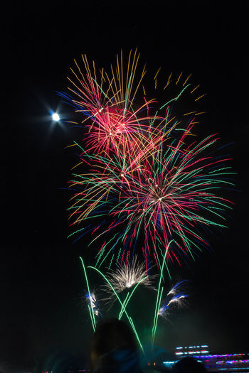 Illuminated Multi Colored Arts Culture And Entertainment Motion Firework Display Celebration Firework - Man Made Object Event Long Exposure Holiday - Event