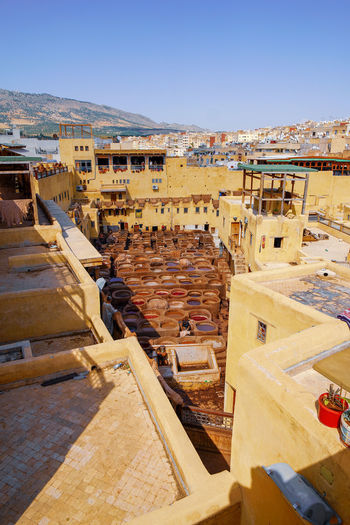 Tannery, one of many. Fes Morocco Travel Destinations Travel Photography EyeEmNewHere Travelling Digital Nomad Architecture Building Exterior Built Structure Sky Day History The Past Clear Sky High Angle View Nature Ancient Travel Sunlight Building Ancient Civilization Archaeology TOWNSCAPE Tannery