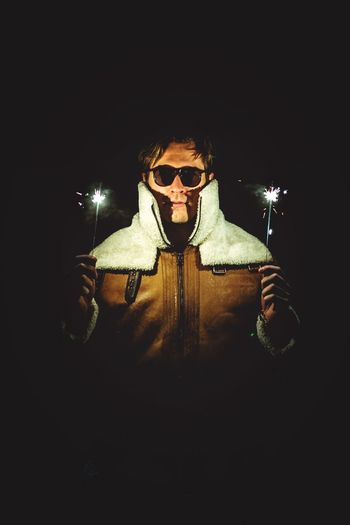 Profile picture 2019 Mysterious Cool Cold Temperature Leather Jacket Face Celebration New Year Eve New Year Sparkles Holding One Person Front View Glasses Men Males  Waist Up Indoors  Sunglasses Dark Night Portrait Young Men Fashion Black Background Looking At Camera Mid Adult Men Illuminated Spooky Evil My Best Photo