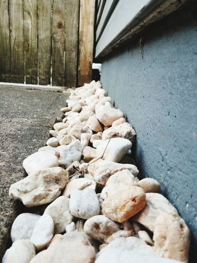 Close-up of stones on stone wall