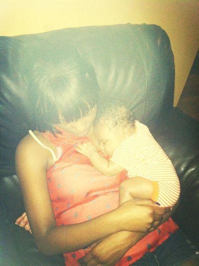 Fell asleep with my god brother <3