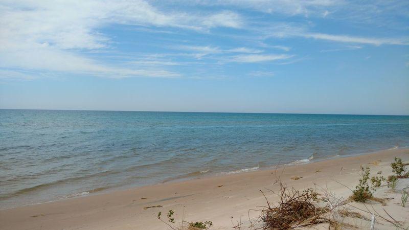 Beach Blue Cloud Coastline Day Horizon Over Water Nature Sand Shore Silver Lake Mi Sky Summer Water
