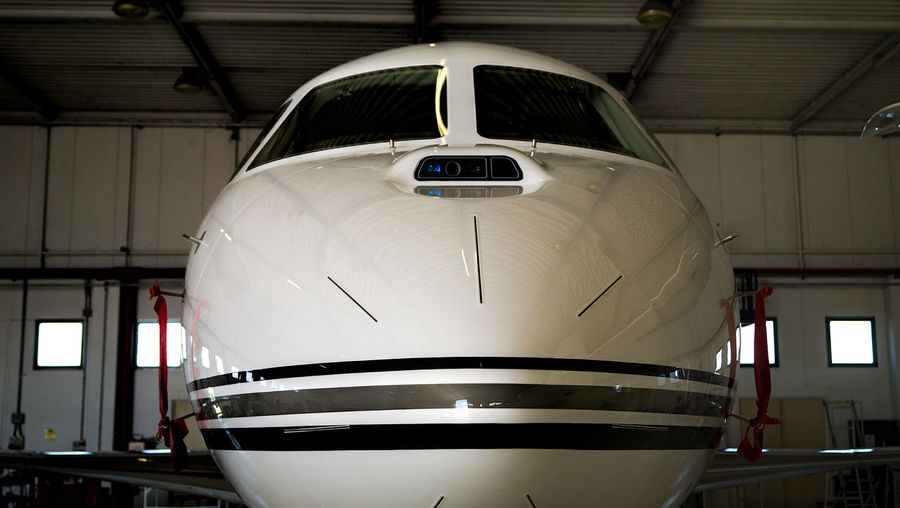 Air Vehicle Airplane Airport Close-up Falcon 8X Front View Mode Of Transport No People Transportation Travel Go Higher