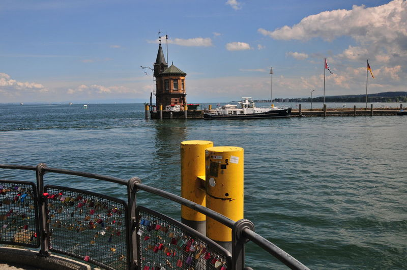 love Architecture Boat Deck Bridge - Man Made Structure Built Structure City Cityscape Cloud - Sky Day Hanging Lock Harbor I Love You Lake Konstanz Longing Love Nautical Vessel No People Outdoors Railing Sea Sky Travel Destinations Water