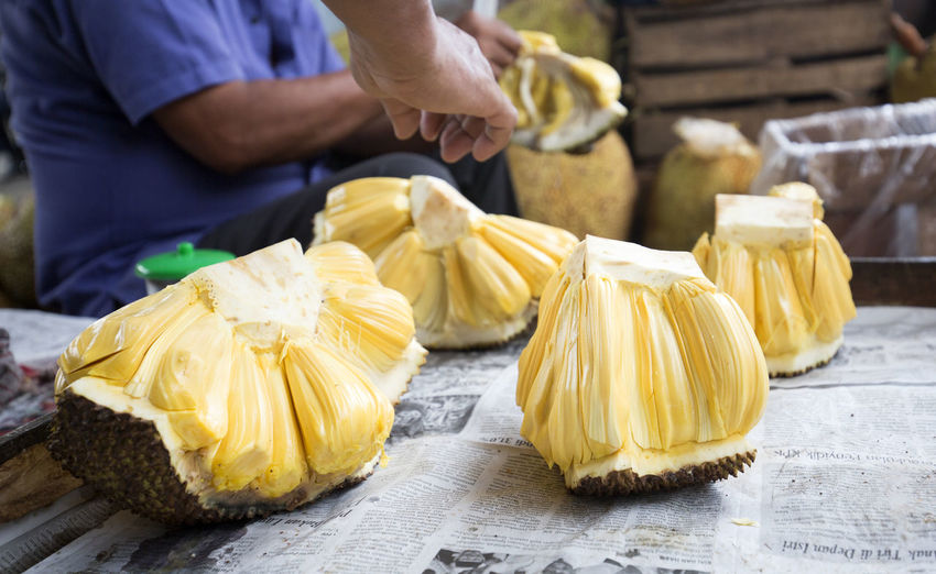 Jack Fruit Food Food And Drink Freshness One Person Healthy Eating Occupation Midsection Yellow Focus On Foreground Wellbeing Market Real People Men Day Retail  Hand Close-up Selective Focus Human Hand Jack Fruit Jakarta INDONESIA