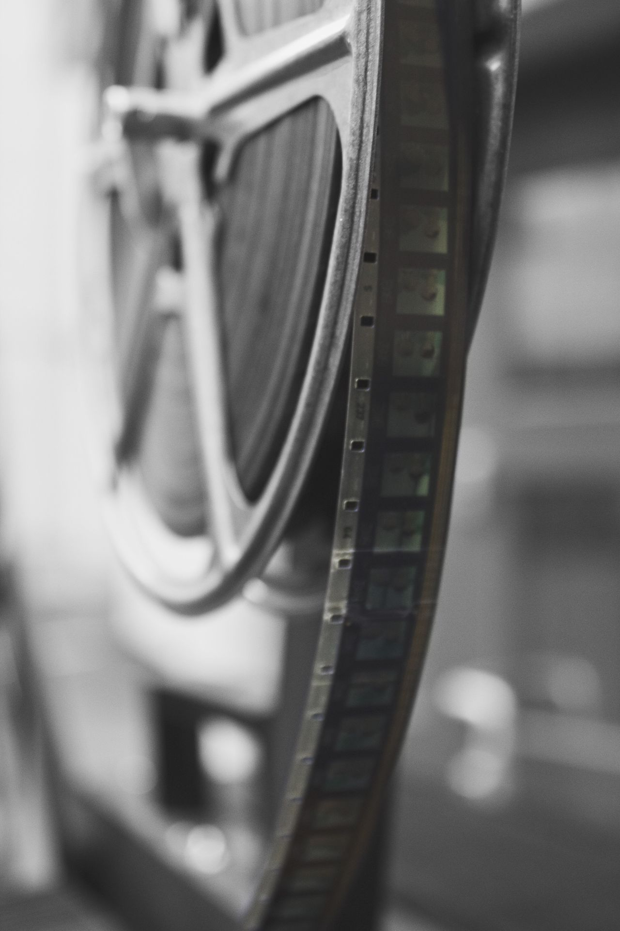 Close-up of film reel in industry