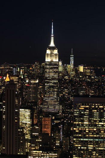 Architecture City Empire State Building Lights On New York New York At Night New York City New York Lights Night Outdoors Skyscraper Tower Travel Travel Destinations