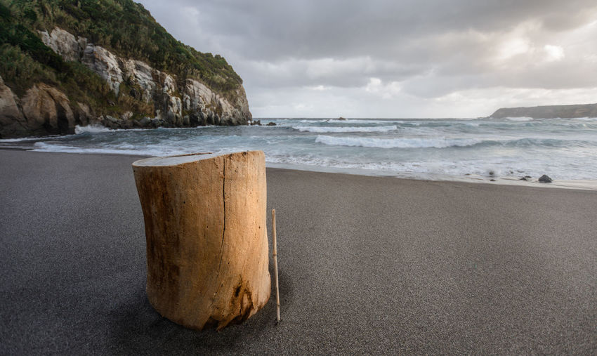 Black sand beach with tree stub, waves in dusk on sao miguel, azores, portugal