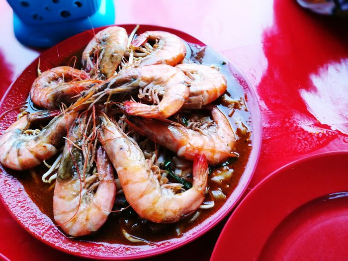 Seafood Food Ready-to-eat Serving Size Plate Freshness Food And Drink High Angle View No People Close-up Red Day