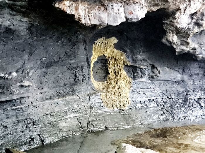 High angle view of rock by wall