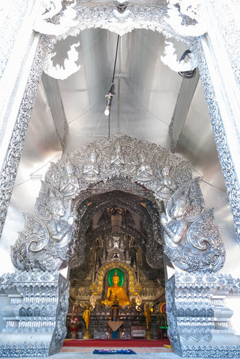 Buddhist temple made of silver. It's in the northern of thailand. Architecture Art Of Lanna Beautiful Buddhist Temple In Thailand Built Structure Chiang Mai | Thailand Indoors  Low Angle View No People Nothern Of Thailand Place Of Worship Religion Silver  Spirituality Wat Thai