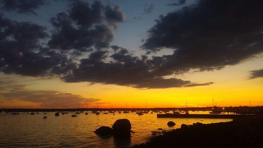 Sunset Gorgeous Colors Blazing Sky Neds Point Mattapoisrtt Harbor Mattapoisett Má