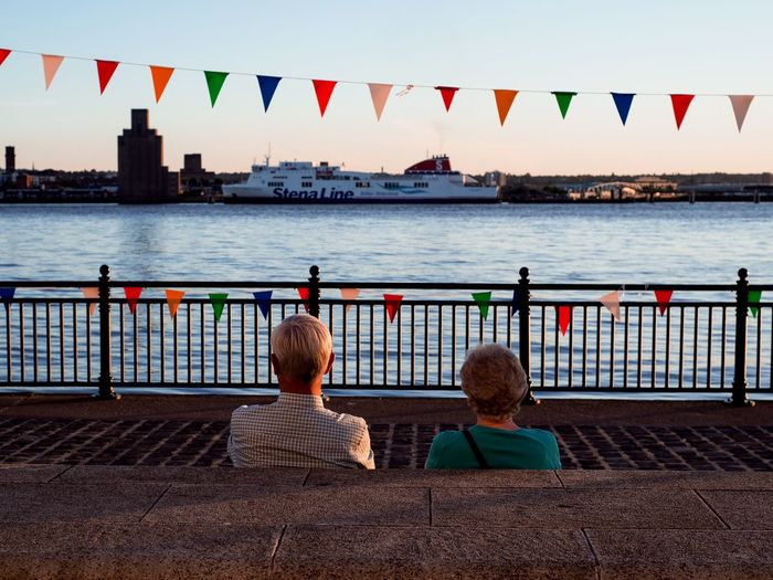 Liverpool Street Along Sea Shore Old Couple Sunset Quiet Moments