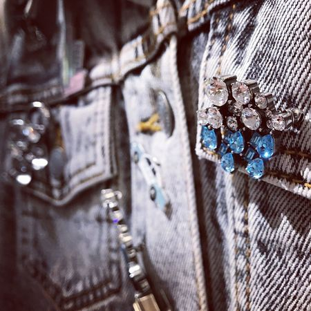 Denim Denim Jacket Jacket Bling Bling Bling Blingbling Brooch Brooch Pin Blue Party Close-up No People Indoors  Shopping ♡ Shopping Time Crystal Crystals Light And Shadow Light Spotlight