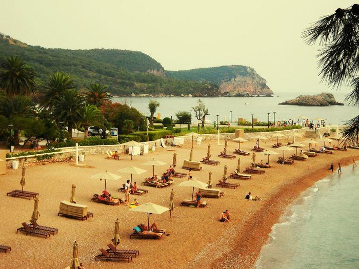 Beach Beach Umbrella Sand Sea SvetiStefan💙 FreshonEyeem Montenegro🌊💙👈 Travel Destinations Tourism Royal Beach