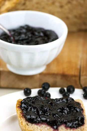 Black Currant Jam On Slice Of Bread