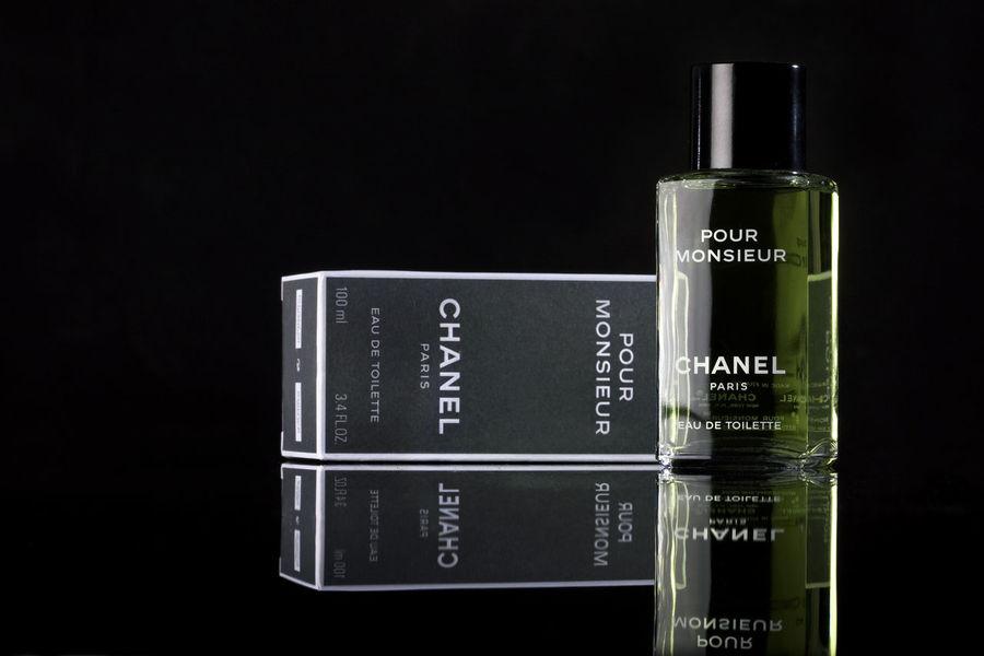 Chanel pour Monsieur Bottle Chanel Close-up Cologne Composition Eau De Toilette For Men Frangrance Glass Liquid Men Negative Space Package Perfume Single Object Still Life Studio Studio Shot